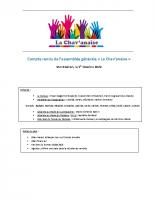 CR AG La Chavanaise 2020-2021 – 01.10.2020